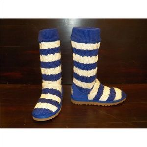 UGG CABLE STRIPE KNIT Ultra Marine Blue Warm Boots